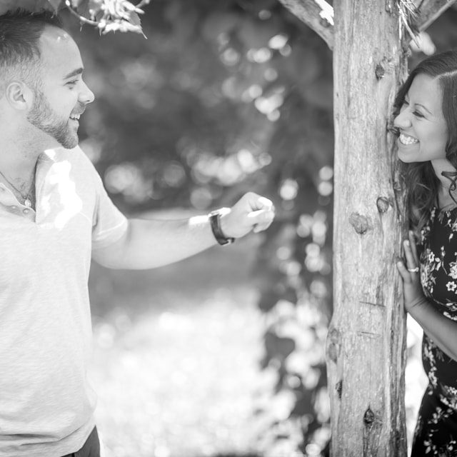 An image from Joe & Megan's engagement session at Connecticut College Arboretum in New London, CT.